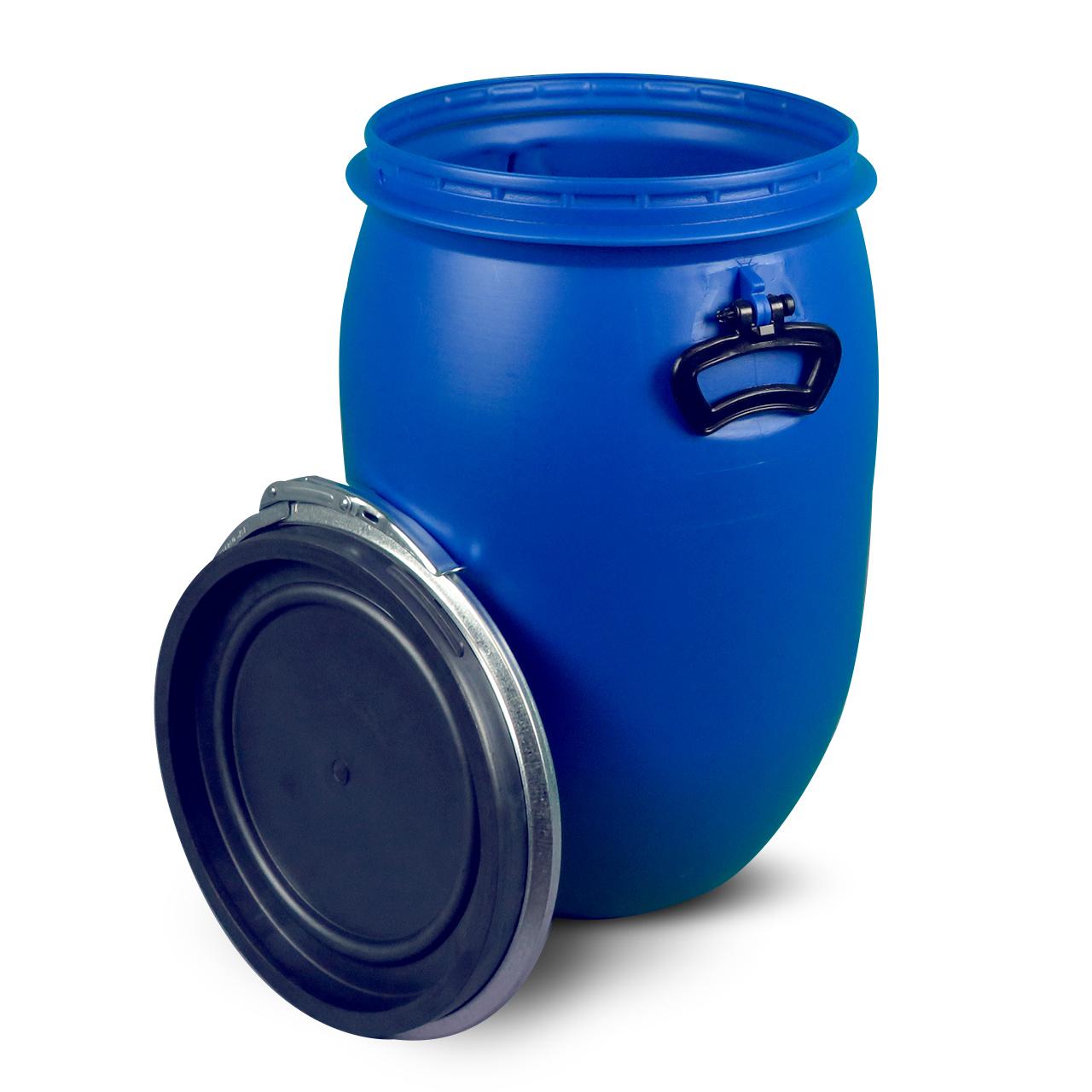 60 L Kunststoffdeckelfass, blau, lebensmittelecht, UN Zulassung