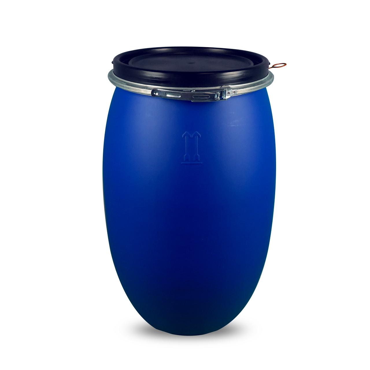 120 L Kunststoffdeckelfass, blau, STANDARD, lebensmittelecht, UN