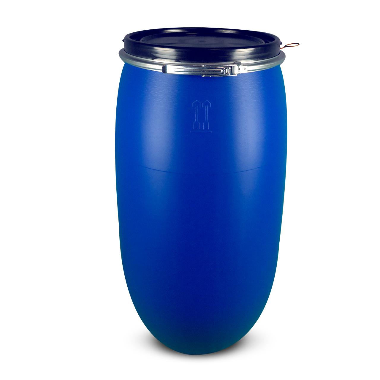 150 L Kunststoffdeckelfass, blau, Entgasung, FDA, UN