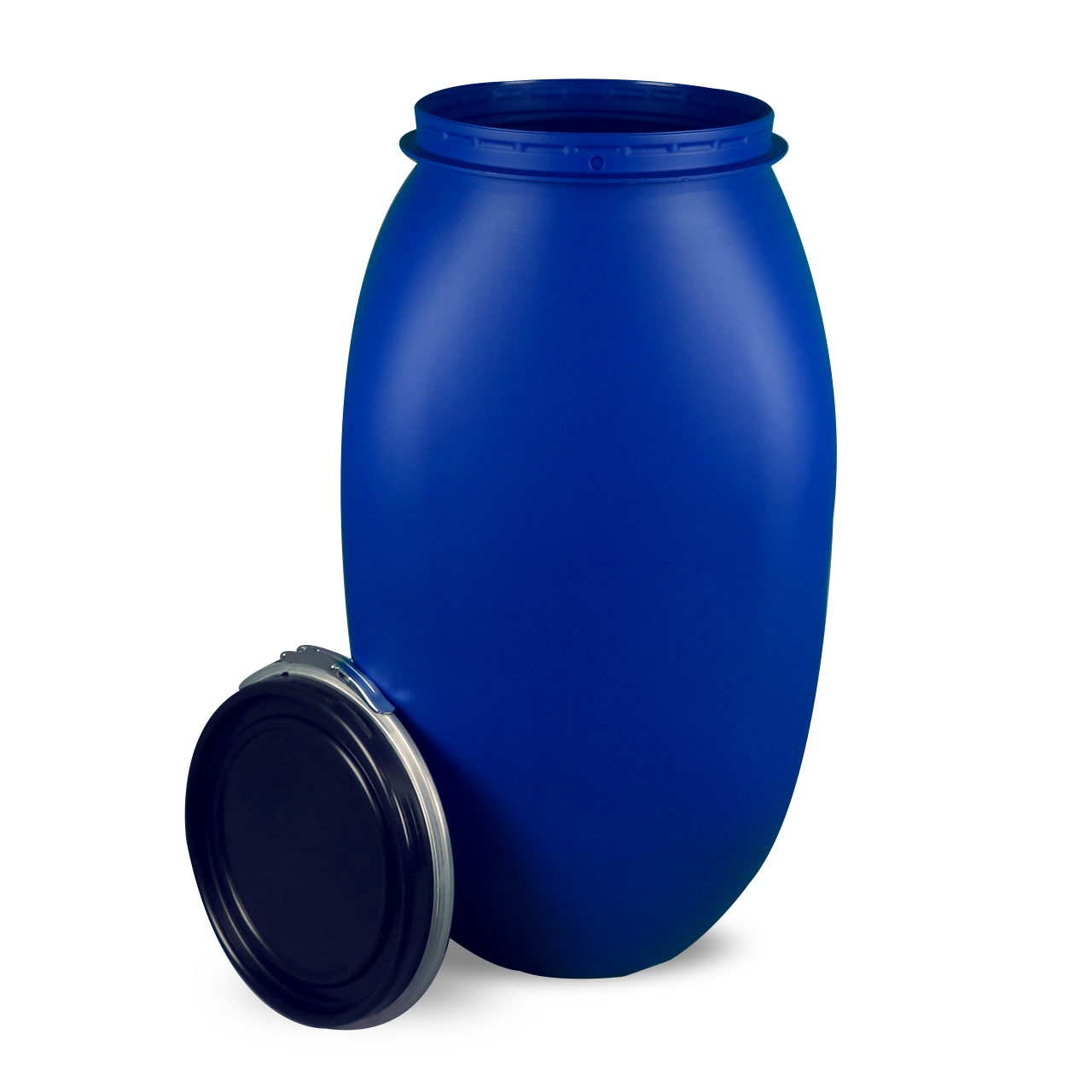 120 L Kunststoffdeckelfass, blau, eckig, palettengerecht, FDA, UN