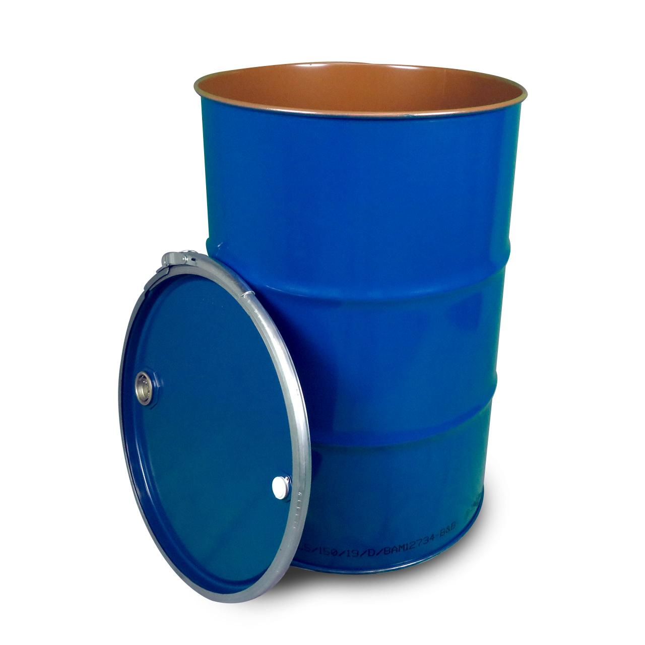 212 L Stahldeckelfass, lackiert, blau, Spunde, UN (fest + flüssig)