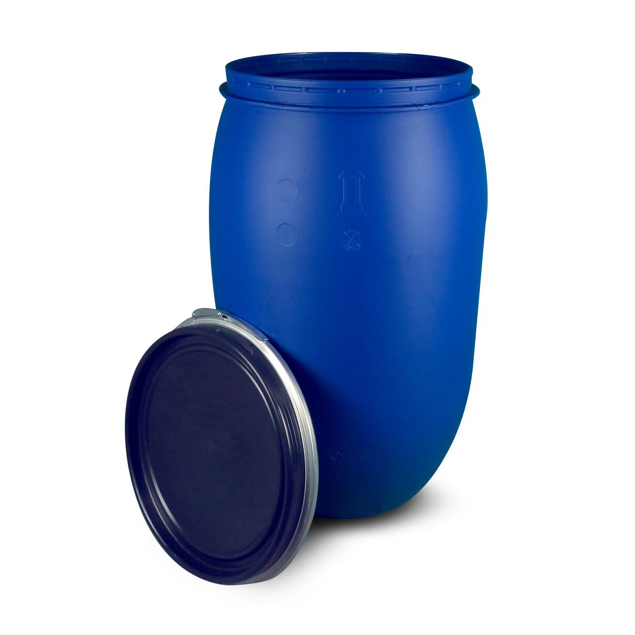 220 L Kunststoffdeckelfass, blau, STANDARD, lebensmittelecht, UN