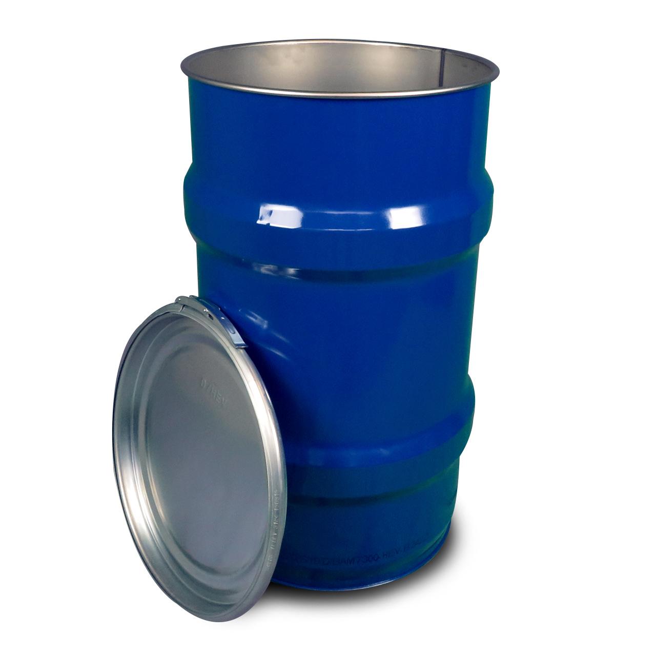 120 L Stahldeckelbehälter, roh, blau 5010, UN Zulassung