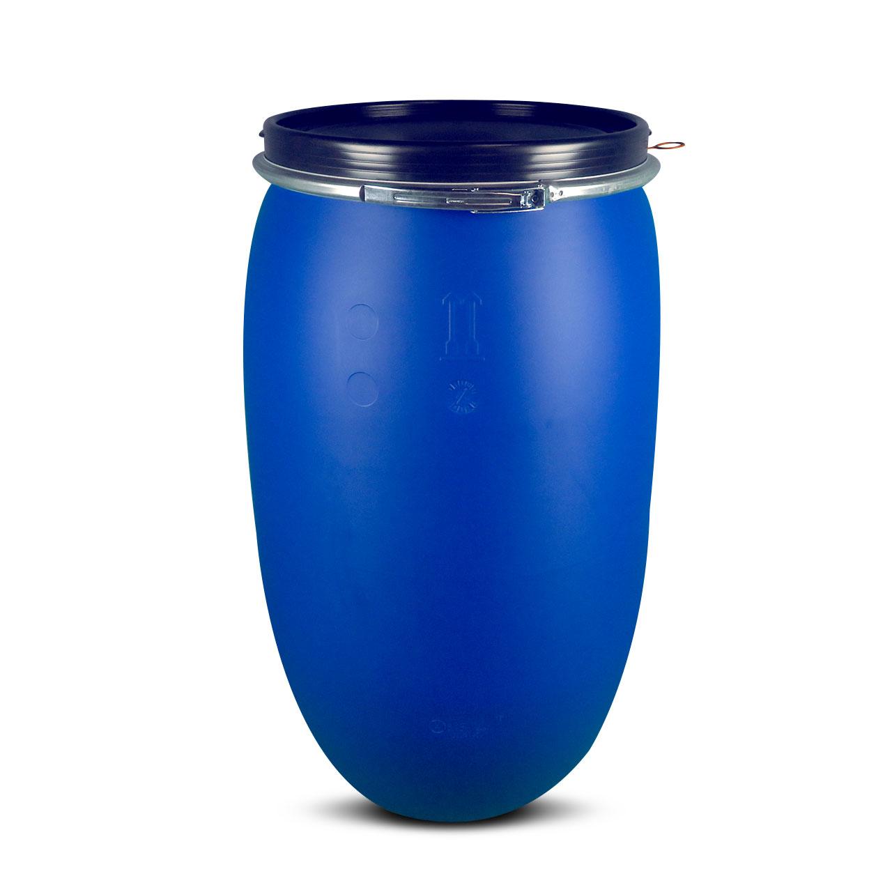 220 L Kunststoffdeckelfass, blau, Entgasung, FDA, UN