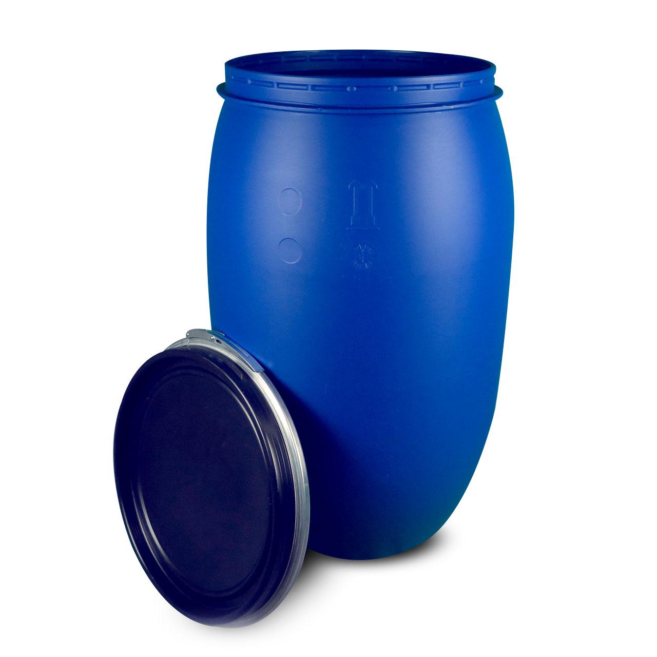220 L Kunststoffdeckelfass, blau, lebensmittelecht, ohne UN