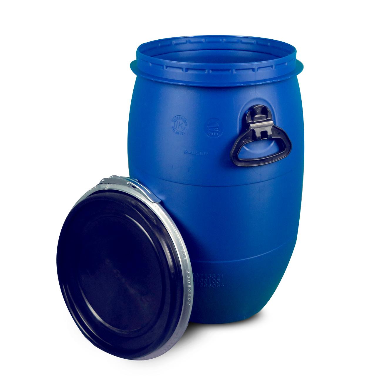 60 L Kunststoffdeckelfass, blau, Entgasung, MAUSER, UN