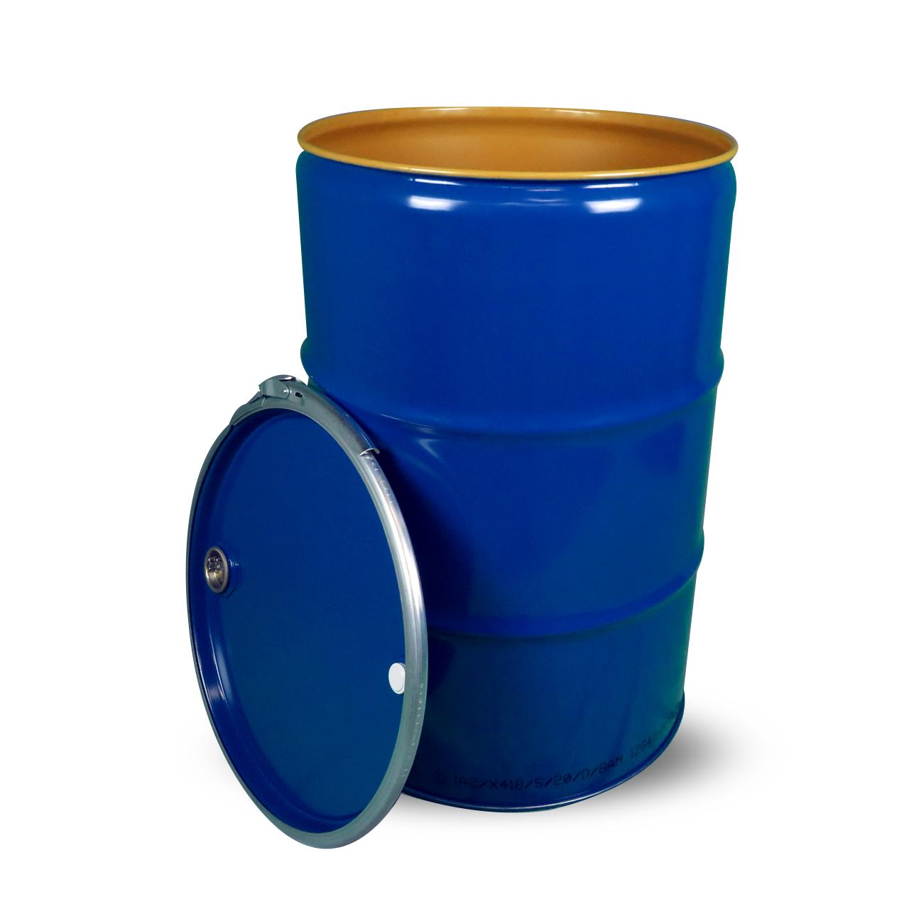 210 L ISO-Stahldeckelfass, lackiert, blau, Spunde, UN (fest + flüssig)