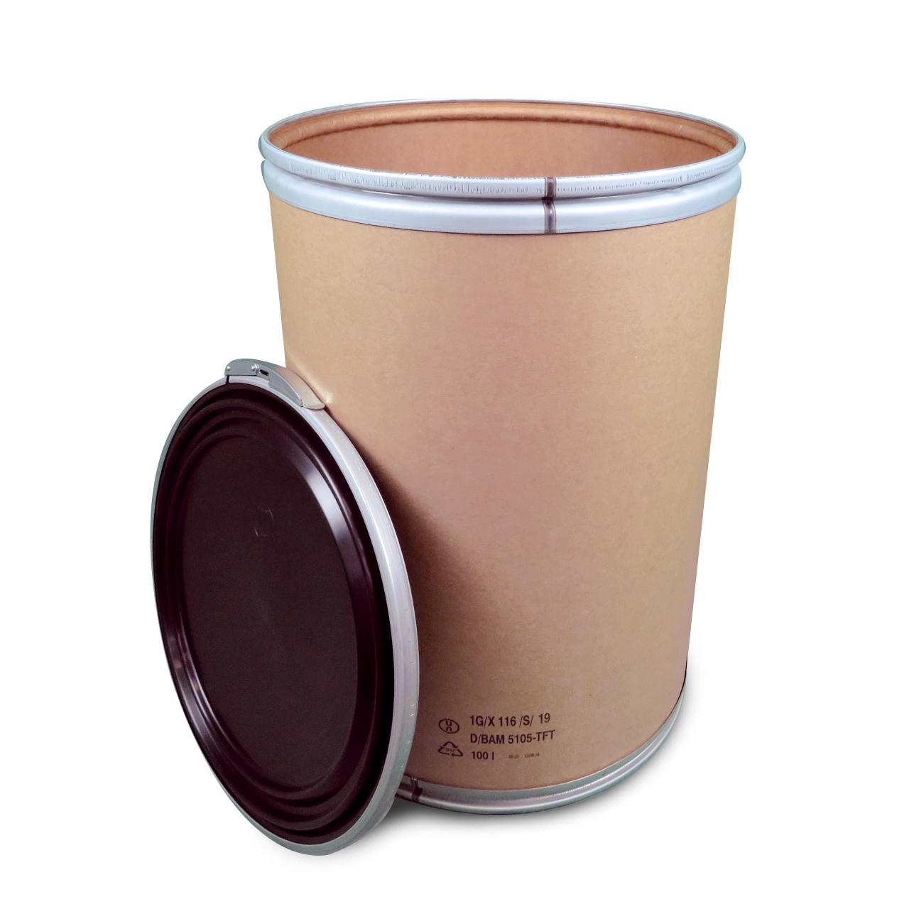 100 L Fibertrommel, Kunststoff-Deckel, UN Gefahrgut - Zulassung
