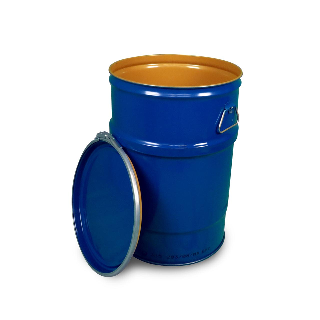 60 L Stahldeckelbehälter, lackiert, blau 5010, UN Zulassung