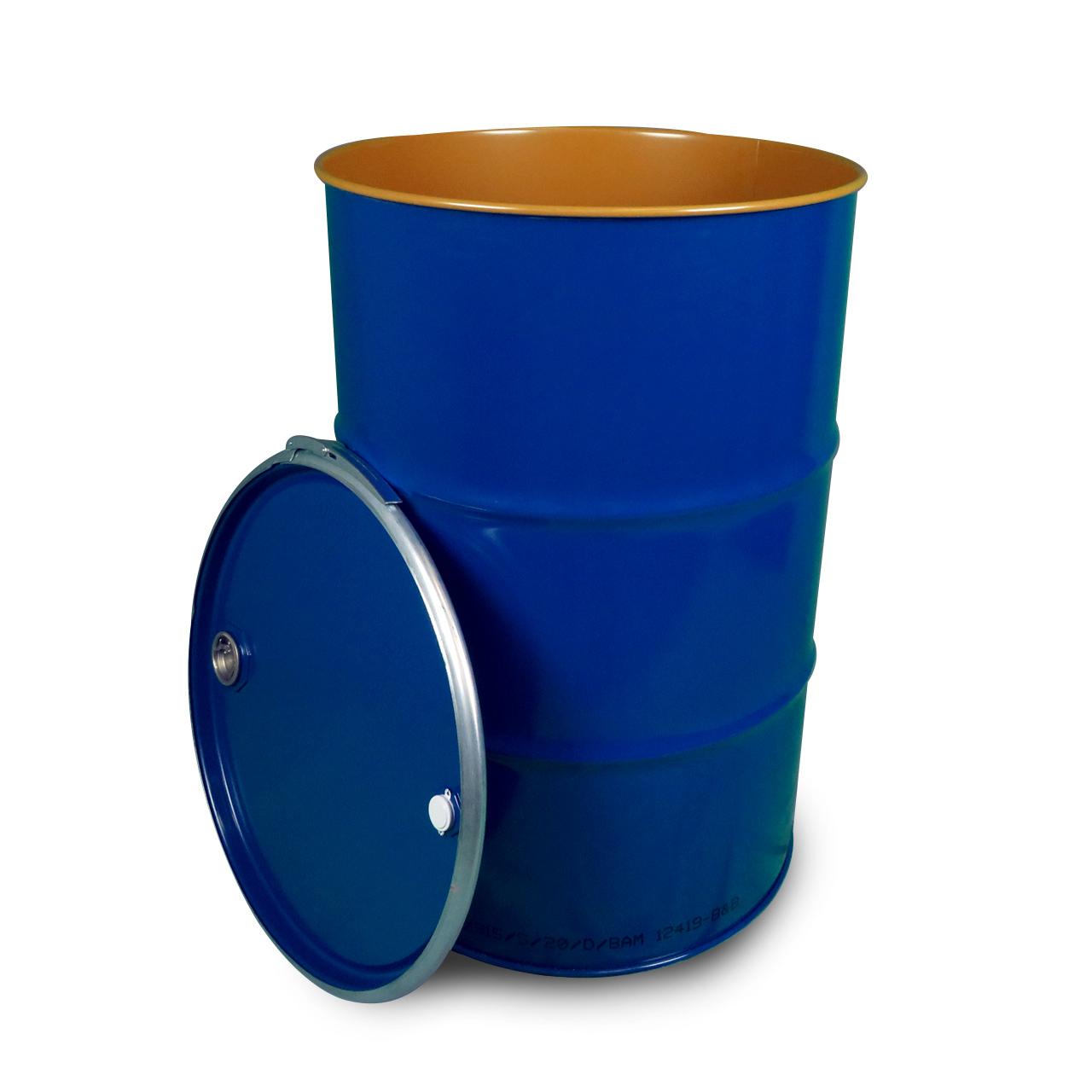 212 L Stahldeckelfass, lackiert, blau, Spunde, UN X (Feststoff)