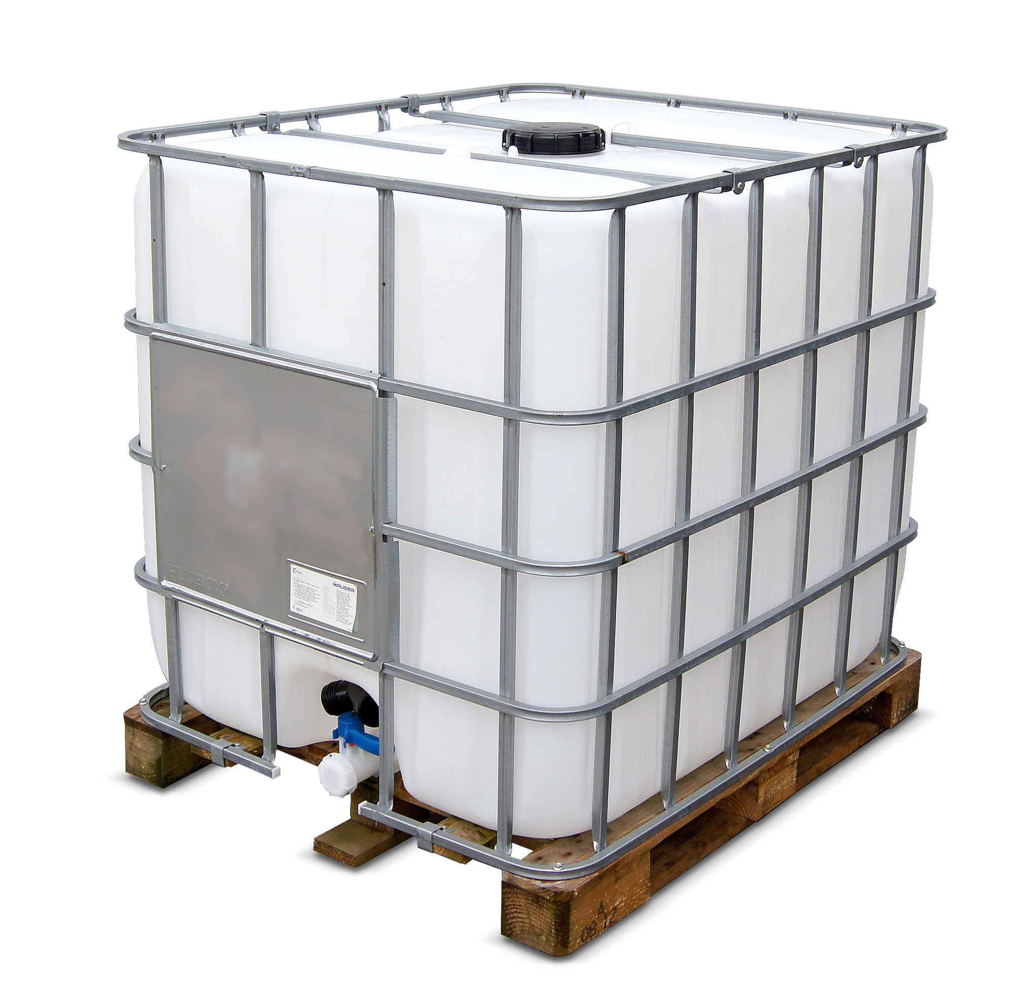 1000 L IBC Container, Holzpalette, gebraucht gereinigt, 150/50, UN