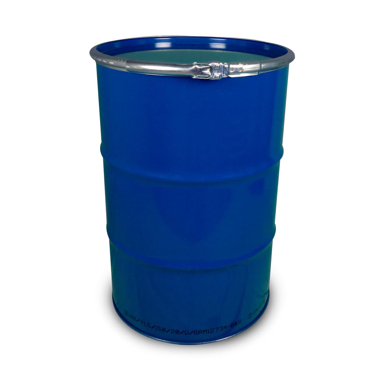 212 L Stahldeckelfass, roh, blau, UN (fest + flüssig)