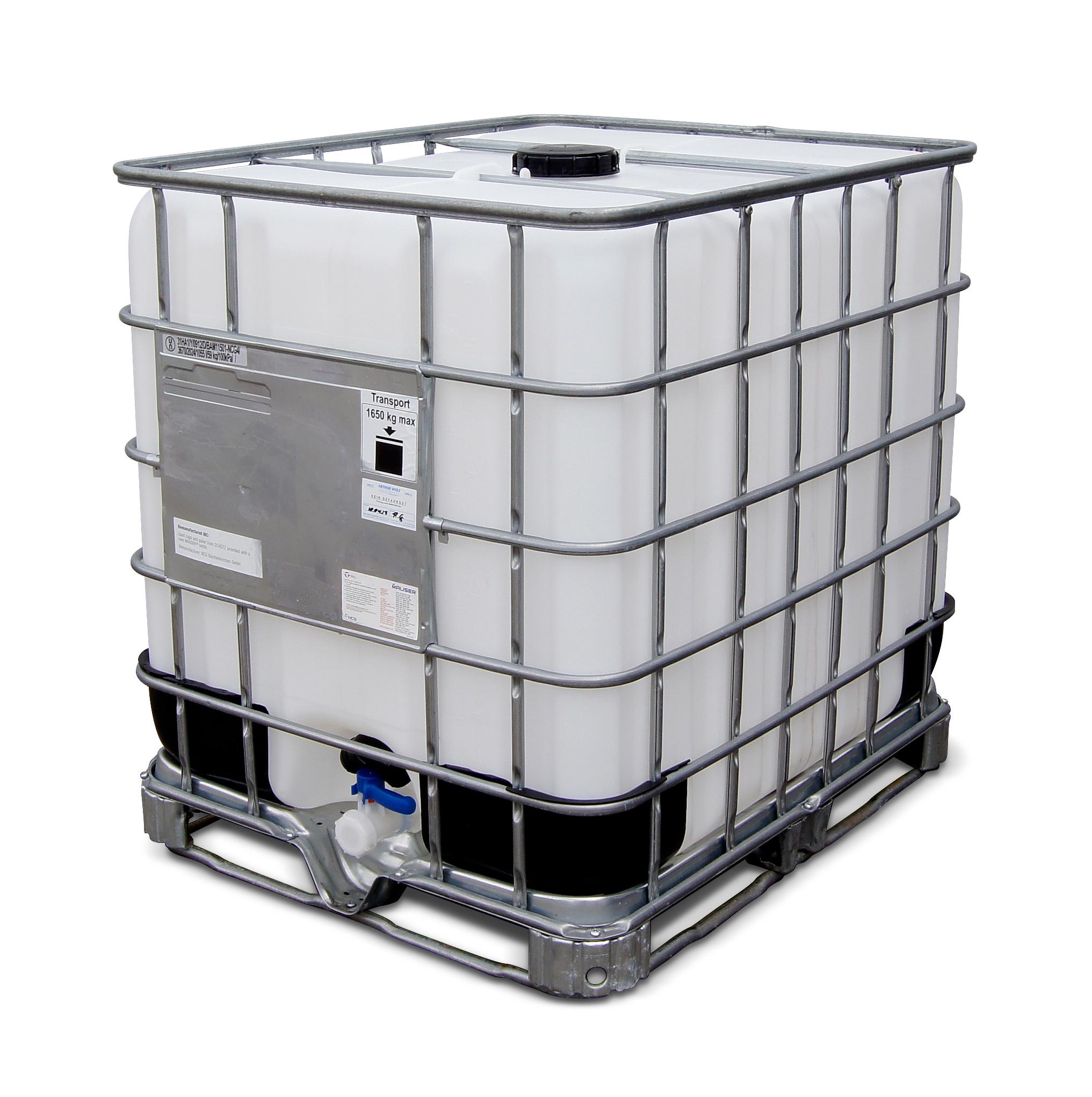 1000 L IBC Container, Stahlpalette, gebraucht gereinigt, 150/50, ohne UN