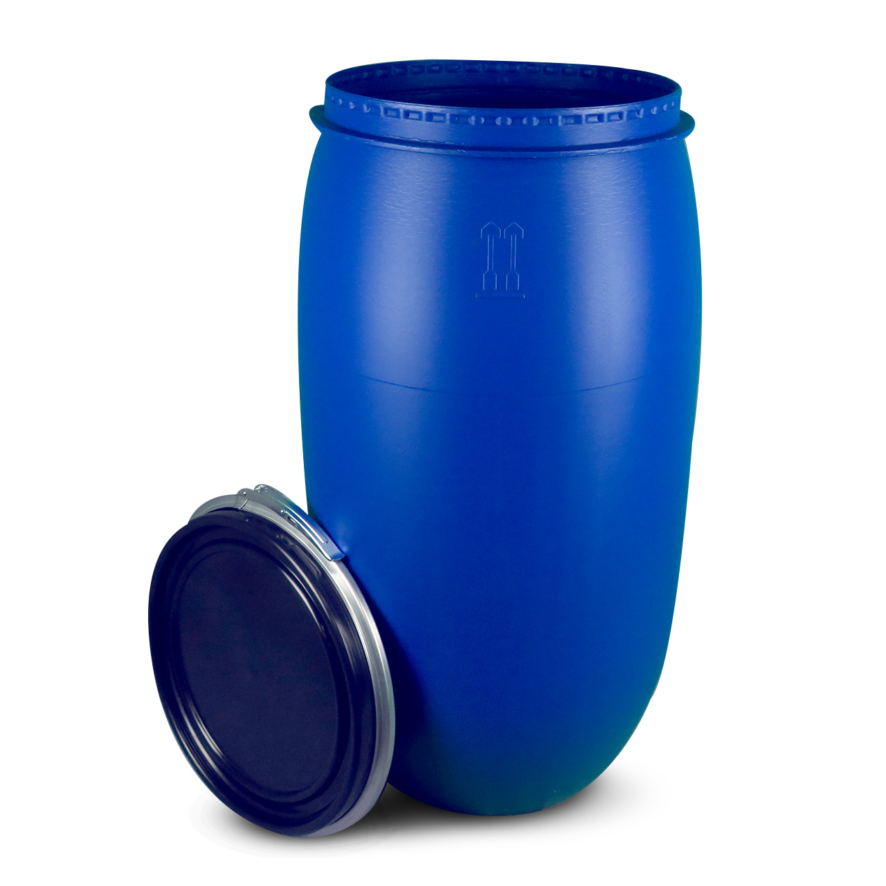 150 L Kunststoffdeckelfass, blau, STANDARD, lebensmittelecht, UN